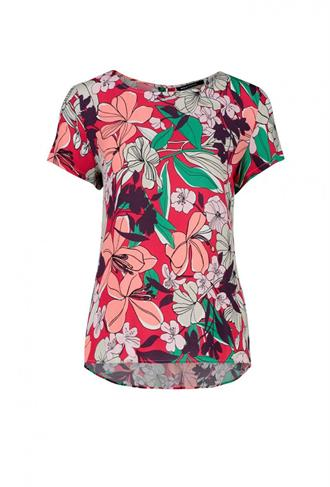 BLOUSE SSL FLOWER PRINT INVERTED PLEAT Expresso
