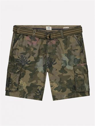 Combat shorts with Belt Camo Hibiscus Canvas DSTREZZED
