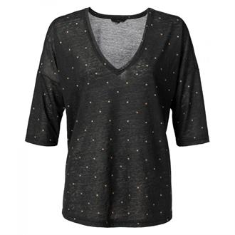Linen T-shirt with dots print Yaya