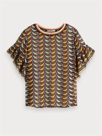 Mixed print top with ruffled sleeve Scotch&Soda