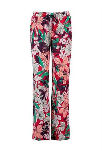 PANTS MID WIDE FLOWER PRINT DRAWSTRING Expresso