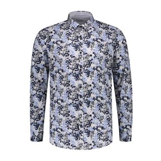 Shirt regular collar Small Flower Lt. Stretch Popl DSTREZZED