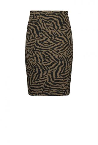 Skirt above knie pencil printed scuba Expresso