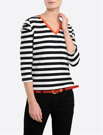 TOP LONG SLEEVE TWO TONE STRIPES SUMMUM